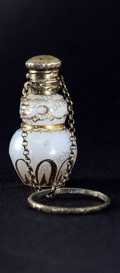 ANTIQUE c.1870 MINIATURE FRENCH OPALINE GLASS SCENT PERFUME BOTTLE, SILVER TOP. This item is sold, to visit my website to see what's in stock click here: http://www.richardhoppe.co.uk or for help or information email us here: info@richardhoppe.co.uk