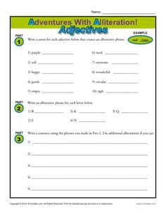 Great resource for extra figurative language practice!! Adventures With Alliteration - Adjectives - Free, Printable Worksheet Lesson Activity www.k12reader.com