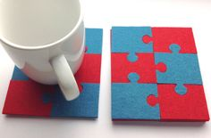 Free Shipping, Puzzle felt coasters, Thick felt coasters, Felt coasters set, Drink coasters, Coasters for drink, Red, Petrol felt Coasters by MairasFairyDreams on Etsy
