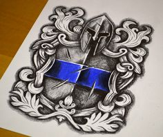 A Law Enforcement Coat of Arms tattoo design showing the thin blue line and the true meaning behind this crest, small and designed to fit under the sleeve! Leo Tattoos, Future Tattoos, Tribal Tattoos, St. Michael Tattoo, Law Enforcement Tattoos, Archangel Tattoo, Desenho Tattoo, St Michael, Tattoos