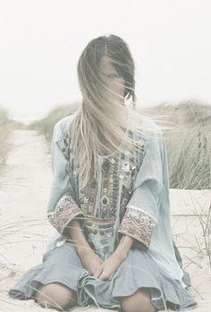 Boho babydoll dress with mirrored embellishments