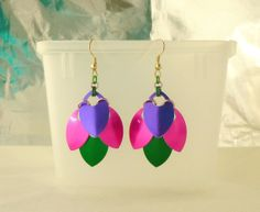 Purple Pink and Green Scale Maille Earrings  2 by EcceRose on Etsy, $10.00