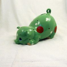 Ceramic Piggy Bank  #Hemlock Mint Green  by GrapeVineCeramicsGft, $20.00  #babygift