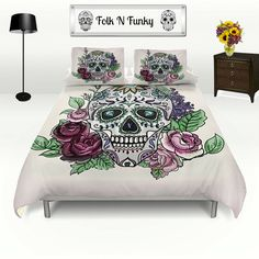 Sugar Skull Duvet Cover Set Skull Bedding Roses and Skull Pink Fade ($119) ❤ liked on Polyvore featuring home, bed & bath, bedding, duvet covers, home & living, silver, king size pillow shams, king duvet insert, twin duvet set and king pillow shams