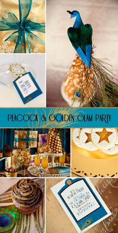 Gatsby 20s Jazz Age - Peacock Teal Gold Party - Printable Decorations - COMPLETE SET