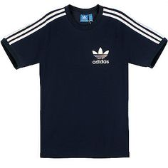 Adidas Sport Essentials Tee Mens AB7604 Navy White Slim Fit T-Shirt Top Size L
