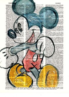 Repurposed  Dictionary Art Featuring Hand Painted Watercolor of Mickey Mouse *Buy 2 get 3rd FREE by SimpleeSaid on Etsy