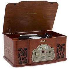 3-in-1 Classic Turntable Natural Wood Record Player Audio CD Electrohome #Electrohome