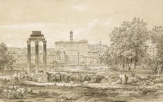 Nicolas-Didier Boguet CHANTILLY 1755 - 1839 ROME VIEW OF THE ROMAN FORUM WITH THE TEMPLE OF CASTOR AND POLLUX