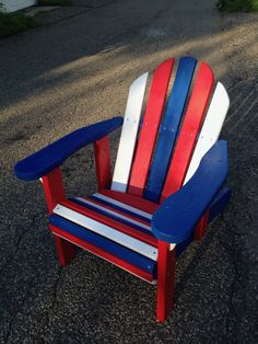 Oregon Patio Works Adirondack Chairs. See More. Red, White U0026 Blue Reclining  Adirondack Chair #TomCatCustoms #AdirondackChair #WoodenChair  #RecliningChair