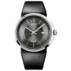 ck Calvin Klein Watch Men's Model K0H21107 Retail Price: $285.00 Calvin Klein ck Trust watch collection. Swiss made. Stainless steel case. Black leather strap. Grey dial. Date display. Scratch resistant mineral crystal. Silver tone hands and markers. Case diameter: 45 mm. UPC: 613352045249 Water Resistant to 30 Meters (100 Feet). Warranty: 1 Year.'