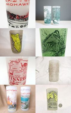 Vintage Frosted Souvenir Glasses  by Claudia on Etsy--Pinned with TreasuryPin.com