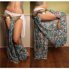 Exotic Tribal Belly Dance Harem Pants Leopard Print Lace Cut Out Leg Turkish Floorwork Tribal Fus