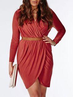 Red V Neck Wrap Belt Waist Long Sleeve Plus Size Bodycon Dress