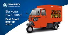 Piaggio Commercial Three Wheel Vehicles (Tuk Tuks), the most compact, maneuverable and versatile light urban means of transport for short distance travel. Truck Restaurant, Piaggio Ape, Car Wheels, Pick Up, Food Truck, Coffee Shop, Commercial, Coffee Shops, Coffeehouse