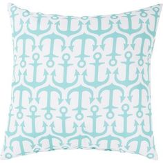 "Breakwater Bay Orchid Alluring Anchor Outdoor Throw Pillow Size: 20"" W x 20"" D, Color: Sky blue"