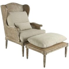 Caned French Chair and Ottoman Chaise Lounge found on Polyvore