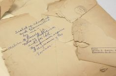 An envelope with the handwriting of famous G-man Melvin H. Purvis Jr. in the Summit County Records Retention office in Cuyahoga Falls. The envelope, containing a deposition notarized by Purvis who apprehended notorious criminals John Dillinger and Pretty Boy Floyd, was found among a stack of records stored in the attic of the Summit County Courthouse. (Karen Schiely/Akron Beacon Journal)