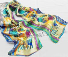 New 100% Silk Abstract Animal Cats Print Stole Neck Long Scarf Shawl Wrap 50X10' #Unbranded #Scarf #Anytime