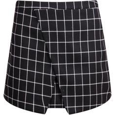 Black Plaid Wrap Mini Skirt featuring polyvore, fashion, clothing, skirts, mini skirts, bottoms, black, short skirts, a line mini skirt, mini skirt, black a line skirt and black wrap skirt