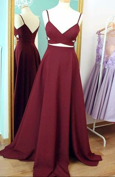 Two Piece Prom Dress, Long Pom Dress,Long Dark Burgundy Red Prom Dress 2017, Formal Evening Dress