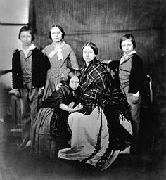 February 8, 1854. By Roger Fenton. The Prince of Wales, Princess Royal, Princess Alice, the Queen and Prince Alfred.