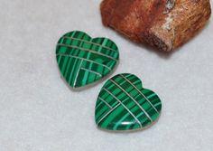 Malachite heart cabochon pair
