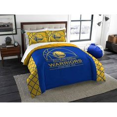 NBA Golden State Warriors Reverse Slam Bedding Comforter Set, Blue