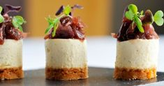 Goats Cheesecake with Red Onion Jam. Savoury goats' cheesecake features a tangy red onion jam. Savory Cheesecake, Cheesecake Recipes, Canapes Recipes, Appetizer Recipes, Party Appetizers, Party Canapes, Catering Recipes, Catering Ideas, Kitchen Gourmet