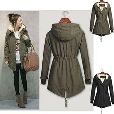 Winter Warm Womens Hooded Parka Overcoat Long Jacket Fleece Tops Trench Coat New