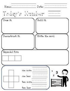 Totally Terrific Teaching: Another Freebie and another link up. Number Sense Activities, Math Activities, Math Numbers, Writing Numbers, Education Quotes For Teachers, Quotes For Students, Daily Number, Daily 3, Daily Math