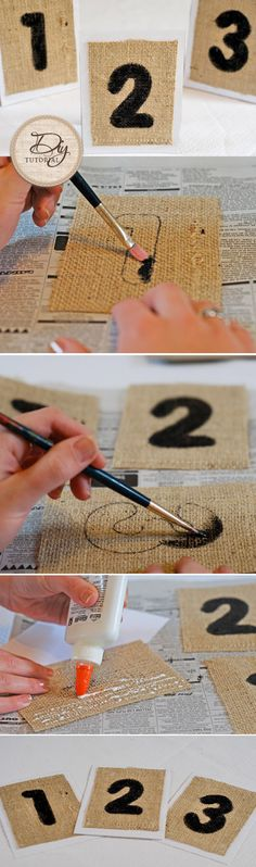 Table numbers are great for open seating during your Reception! They can be used as a reference for guests to sit by each other and to assist your caterers! These DIY burlap table numbers will work best with a rustic or Earthy themed Wedding. Burlap Projects, Burlap Crafts, Diy Wedding Projects, Diy Projects, Wedding Ideas, Wedding Photos, Burlap Table Numbers, Wedding Table Numbers, Table Wedding
