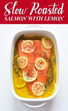 The Most Delicious And Foolproof Way To Cook Salmon.this is the best baked salmon recipe I've tried. I didn't have lemon but put thyme, dill & citrus seasoning and it was delicious Baked Salmon Recipes, Fish Recipes, Seafood Recipes, Cooking Recipes, Healthy Recipes, Salmon Dishes, Seafood Dishes, Fish And Seafood, Poached Salmon