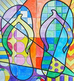 Mosaico de chanclas #dibujar #colorear                                                                                                                                                     Más