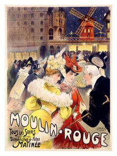 Moulin Rouge Theater Show Music Paris France French Vintage Poster Repo Free s H Vintage French Posters, Pub Vintage, Vintage Travel Posters, French Vintage, Retro Poster, Poster Ads, Advertising Poster, Poster Prints, Art Posters