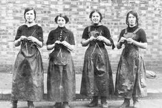 Four fisher lasses at North Shields on the River Tyne, UK – the women were often photographed with their knitting in their hands