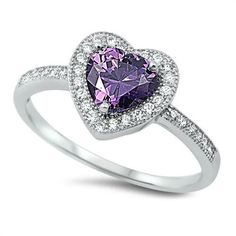 925_Sterling_Silver, Engagement_Ring, friendship, Heart_Shape_Ring, Jewelry, Love_Gift, Platinum, Promise_Ring, Purple_Amethyst, Ring, Russian_Diamond_CZ, Sterling, White_Gold