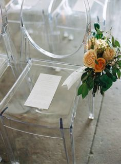 Lucite ghost ceremony chairs: http://www.stylemepretty.com/massachusetts-weddings/salem-ma/2016/01/06/backyard-seaside-massachusetts-wedding/ | Photography: Charlotte Jenks Lewis - http://charlottejenkslewis.com/