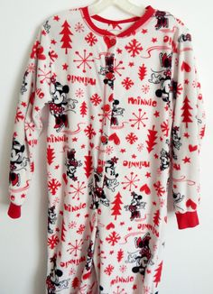 WOMENS CLASSIC MINNIE MOUSE FOOTED White Red PAJAMAS PJ FOOTIE SLEEPER FLEECE M…