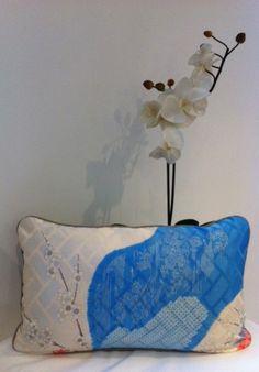 Chrysanthemum & Blue Shibori w grey faux silk