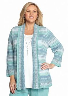 Alfred Dunner  Plus Size Space Dye 2fer Sweater