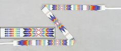 """Native American Beadwork Hat Bands    Comanche Jr. Weryackwe's rainbow pattern hat band loomed in a complex pattern of white/multi cut bead rainbows as well as two lines of crosses in metallic gold and red cut beads. Just under 3/4"""" wide, the loomwork is 22-1/8"""" long and comes with 11"""" long white leather ties. Signed by the artist.  $224"""