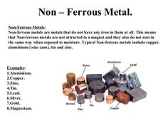 Non – Ferrous Metal. Non-Ferrous Metals: Non-ferrous metals are metals that do not have any iron in them at all. This mean...