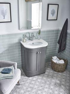 Curved traditional basin unit by Laura Ashley in a soft grey finish. Funky Bathroom, Small Bathroom, Bathroom Ideas, Family Bathroom, Bathroom Inspo, Bathroom Designs, White Bathroom, Grey Bathroom Furniture, Bathroom Interior Design