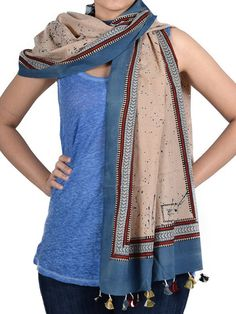 Indigo Drop Cotton Stole With Ajrakh Border