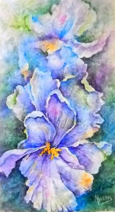 Watercolor on Rice Paper Watercolor Iris Blue by MarthaKislingArt