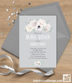 White Flowers Bridal Shower Invitation / White Rose, Anemone, Peony, Boho Greenery, Ivory Flower ▷ Printable File {or} Printed & Shipped by JadeForestDesign on Etsy