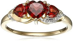 10k Yellow Gold Garnet and Diamond Accent Triple Heart Ring