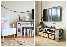 It's not necessary to break the bank to decorate a dorm. Take a look at these creative ways to use cinder blocks in dorm rooms. Decor, Furniture, Apartment Furniture, Furniture Decor, Home Decor, Cinder Block Furniture, Bricks Diy, Bedroom Decor, Interior Design