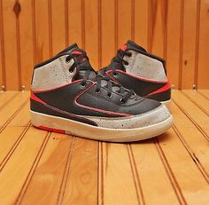 2013 Nike Air Jordan 2 II Retro Size 1.5Y - Black Infrared Cement - 395719 023